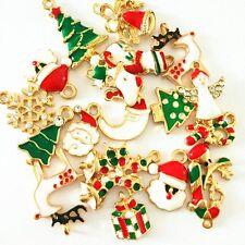 15PCS Mixed Gold Enamel Christmas Tree Snowman Snowflake Deer Bell Charm Pendant