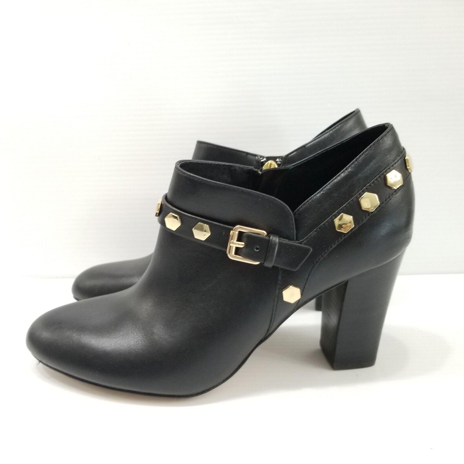ISOLA Elisha Black Leather Ankle Boots gold Studded Heels 9.5 M
