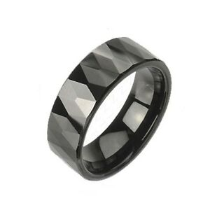 Black IP Tungsten Carbide Faceted Ring With Bevel Edge 8mm Wedding Band R346