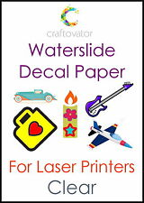 1 Sheet CLEAR Water Slide Decal Paper LASER A4 Waterslide Transfer Craft Sample