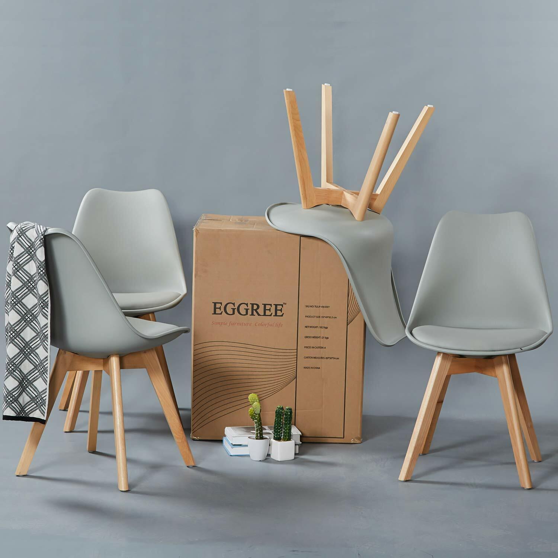 Eggree Esstisch Mit 4 Stuhlen Weiss Grau 80 X75cm Runder Tisch