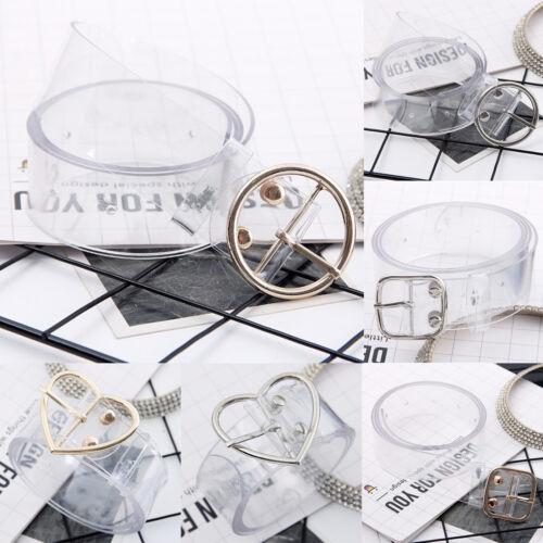 Transparent Belt Waistband Heart Pin Buckle Design Clear Waist Belt Women Girls