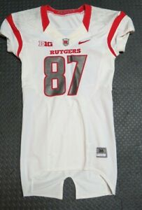 2013-Rutgers-Scarlet-Knights-Game-Used-Worn-White-Nike-Football-Jersey-Big-Ten