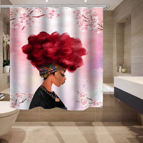 African Fashion Girl Shower Curtain Non-Slip Floor Bath Mat Rug Lid Toilet Cover