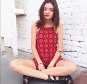 634a7f18247 Sold Out! Brandy Melville red boho floral high neck racerback romper ...
