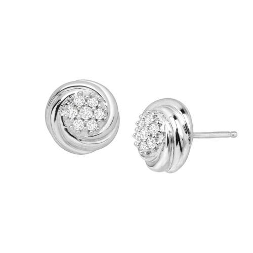 1//4 ct Diamond Swirled Cluster Stud Earrings in Sterling Silver
