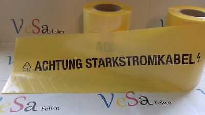 """50 M/200mm Breit gelb WunderschöNen """"achtung Starkstromkabel"""" Verstärk Mit Gittereinlage BüGeln Nicht"""