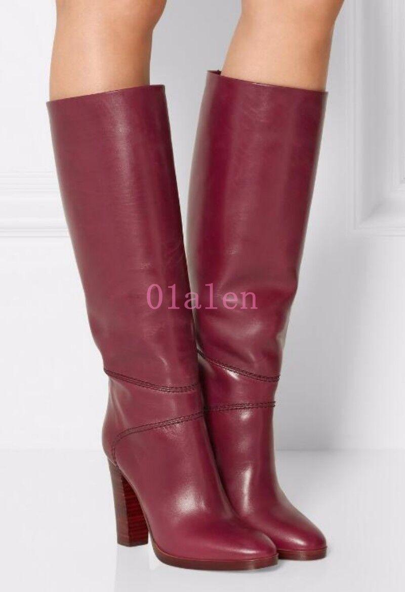 British Donna Euro Pelle Block Stivali heels Knee High High High Stivali Block   b7d3b6