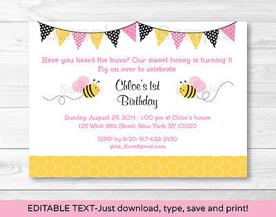 Pink Bumble Bee Printable Birthday Invitation Editable PDF