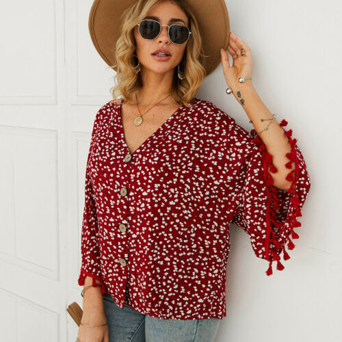 Fashion Women V Neck Floral Tassels Casual Oversized Cotton Tops Shirts Pullover