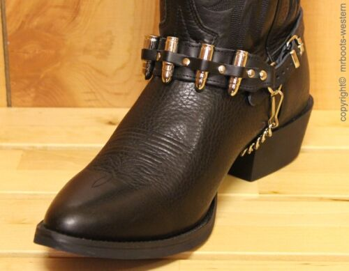 Black Leather Boot Chains with Nickel Plated Bullets