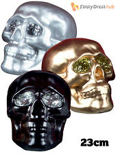 Lifesize Glitter Metallic Skull Halloween Decoration Party Prop Day Of The Dead