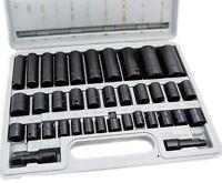 38 Pcs 3/8 & 1/2 Drive Combo Impact Socket Set High Impact Tools Auto Shop on sale