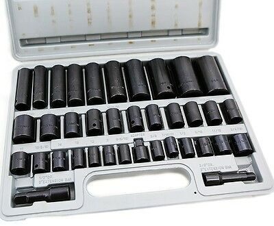 "38 Pcs 3/8"" & 1/2"" drive Combo Impact Socket Set High Impact Tools Auto Shop"