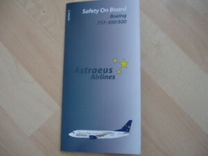 Set of 3 Astraeus Airlines  safety cards Boeing 737-700 / 737-300/500  757 -200