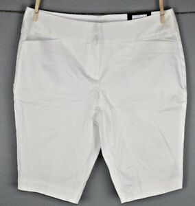 Worthington-Women-039-s-White-Modern-Fit-Slim-Leg-Bermuda-Short-Size-12-NEW