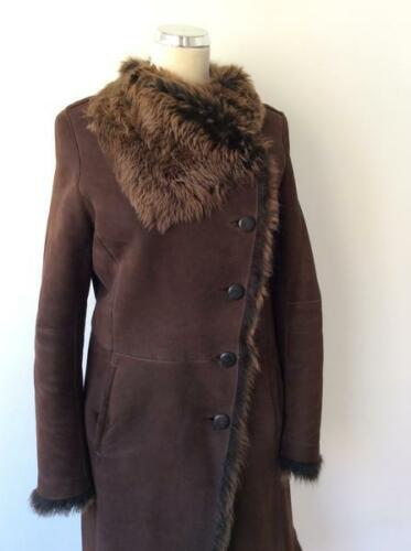 Size 12 Fur Lambskin 40 Coat Uk Dark Joseph Brown Lined UtzqqwY1