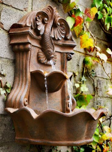 Wall Fish Cascading Fountain 38cm Water Feature Cascade Garden Outdoor Patio