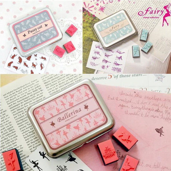 Fashion Kid Children Drawing Art Set DIY Rubber Stamps Tin Box Case Gift Toy
