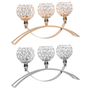 Crystal Votive Candle Holder 3 Arm Candelabra Wedding Dining Table Centerpiece S Ebay