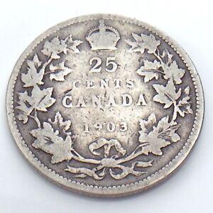 1903-Canada-25-Twenty-Five-Cent-Quarter-Canadian-Circulated-Coin-G776