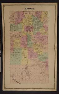 Details about New York Franklin County Map 1876 Town of Malone Z2#29