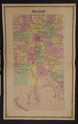 New York Franklin County Map 1876 Town of Malone Z2#29 | eBay