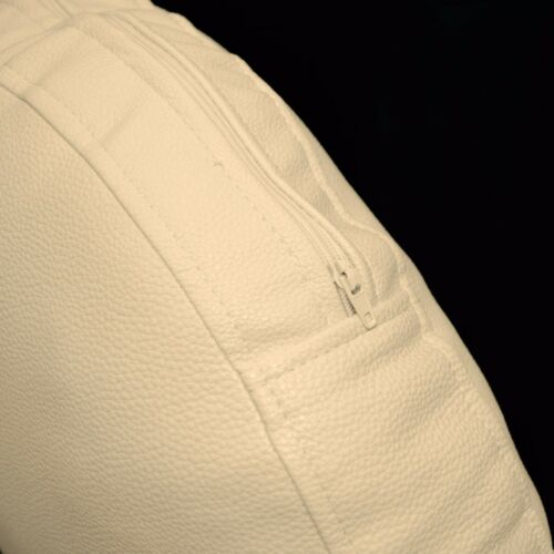 pb302r Beige Round Faux Leather Soft Thick Mattresses Cushion Cover Custom Size