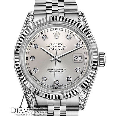 Men S Rolex 36mm Datejust 18k White Gold Stainless Steel