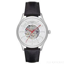 0ef113fafa3b Emporio Armani AR2072 Meccanico Silver   Black Leather Automatic Men s Watch