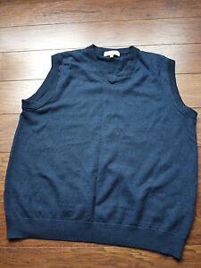 Turnbury-vest-navy-blue-100-extra-fine-merino-wool-L-Large-HOLE