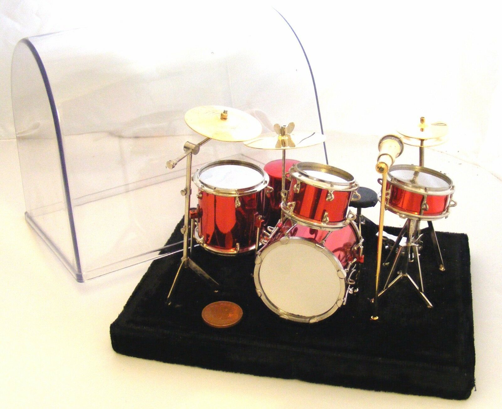 1 12 Scale rot Drum Kit & Case Tumdee Dolls House Music Instrument Set Accessory