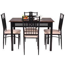 5 PCS Dining Set Wood Metal Table W/4 Chairs Kitchen Breakfast Furniture New