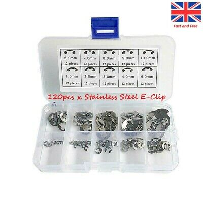 120 Pieces 10 Size 304 Stainless Steel E-Clip Retaining Snap Opening Ring Circlip Kit 1.5//2//3//4//5//6//7//8//9//10mm with Plastic Box