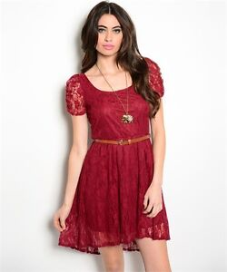 f9bbd636fe9c New USA Deb Boho Chic Western Wine Burgundy Lace Belted Hi-Low Dress ...