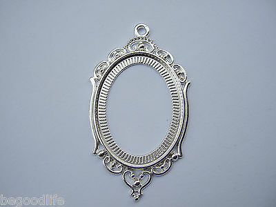 10 Silver Plated Hollow 30x40mm Oval Cameo Bezel Setting Cabochon Tray Pendant