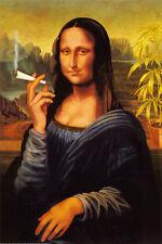 Mona Lisa Smoking Joint Poster Print, 24x36 Weed Marijuana Pot Davinci