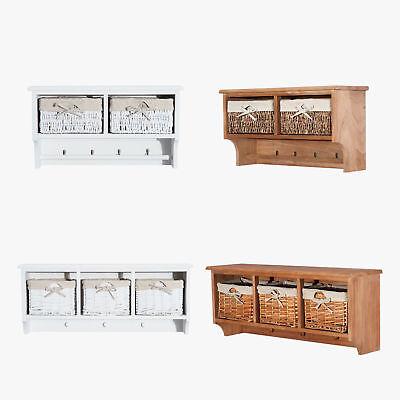 Wall Mounted Coat Hook Storage Unit 2 / 3 Baskets Organiser Shelf