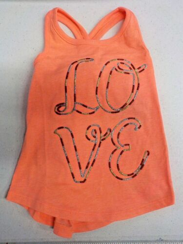 "Girl/'s Size 2T Crazy 8 Salmon /""Love/"" Racer Back Tank New Nwt #8635"