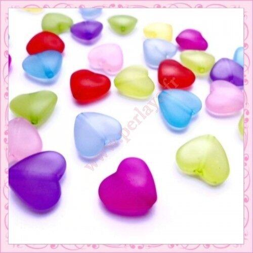 Mix de 100 perles coeur en acrylique 15mm REF000723