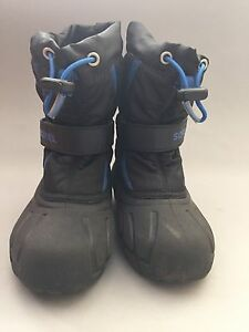 Boy Sorrel Black Snow Boots Size 11 With Inner Warmer Booties | eBay