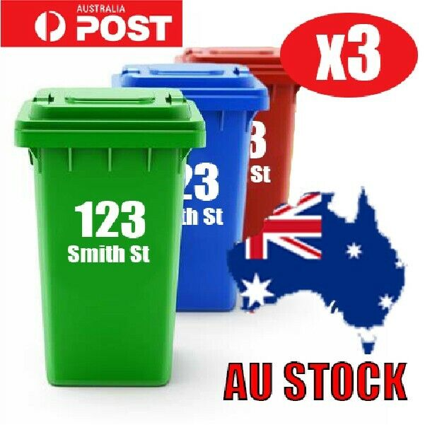 3x Rubbish Bin Sticker house number street name Decal Garbage wheelie bin sign