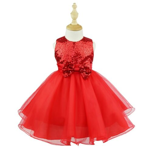 Girl Shiny Sequins Dress Bow Flower Kid Party Wedding Pageant Bridesmaid Dresses