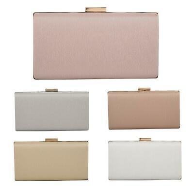 NEW WOMENS CLUTCH BAG PLAIN FAUX LEATHER LADIES PARTY PROM BRIDAL BOX WEDDING UK