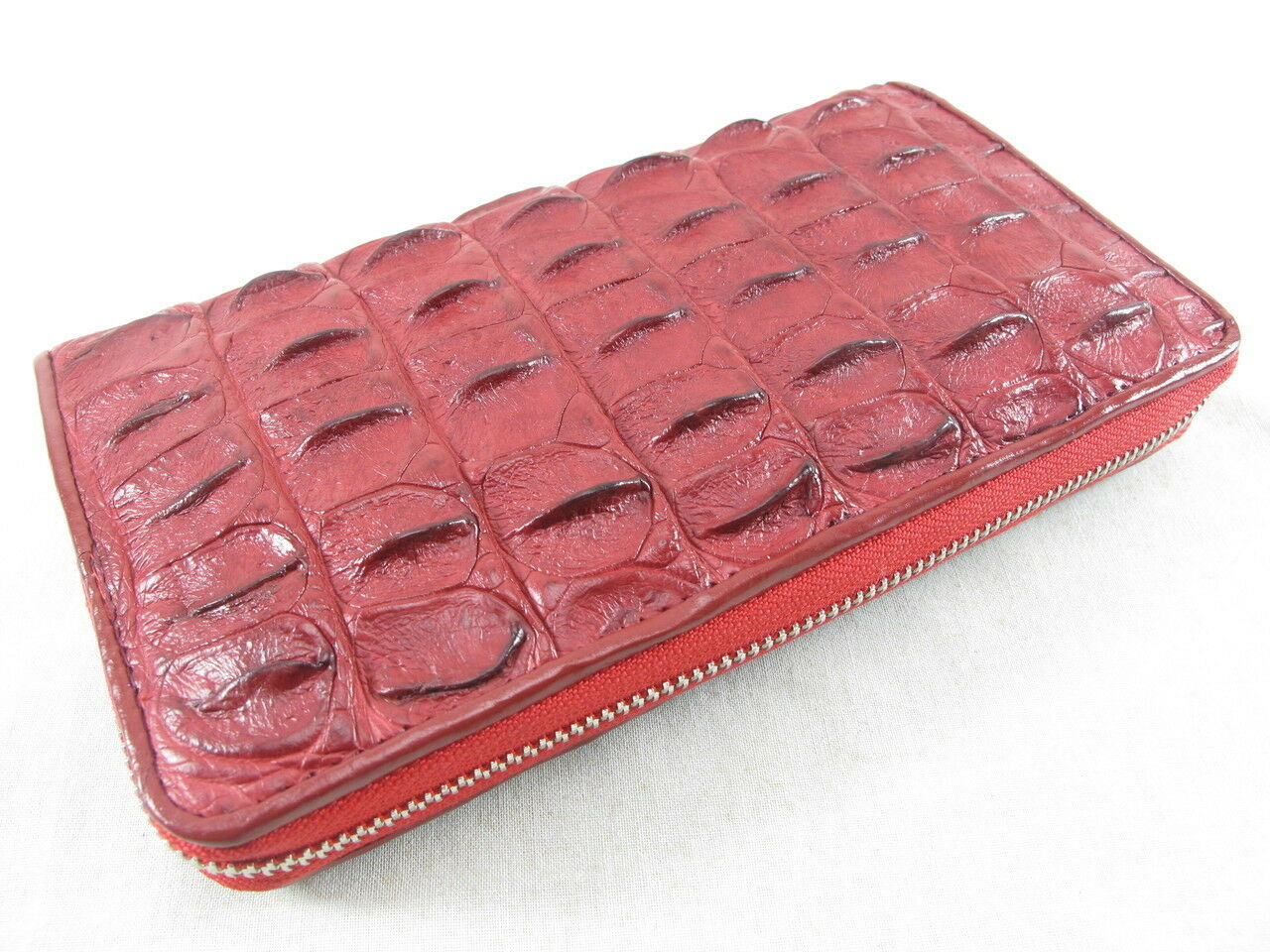PELGIO Genuine Crocodile Backbone Skin Leather Zip Around Clutch Wallet Burgundy