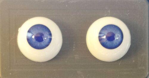 BLUE GLASTIC Realistic DOLL EYES 16 MM