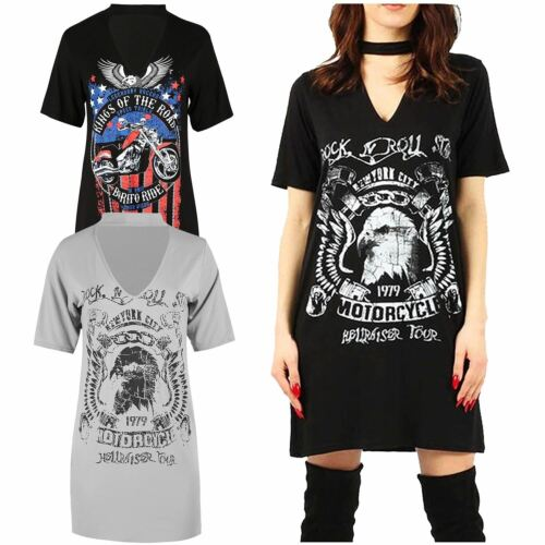 Womens Choker Neck Rock N Roll Kings Of The Road Motif Slogan Print T-Shirt Top