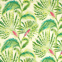Shake & Stir Watermelon Linen Fabric, Green Pink Modern Floral Fabric - By Yard