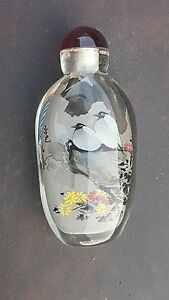 Snuff-Bottle-Tabatiere-en-verre-peinte-interieure-signee-Chine-Chinese