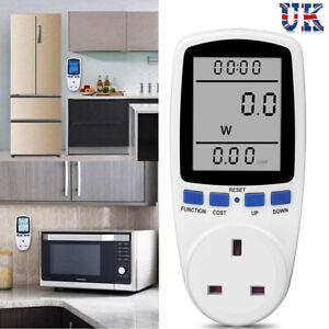 Plug-in Electricity Power Consumption Meter Socket Watt Voltage Analyzer UK Plug